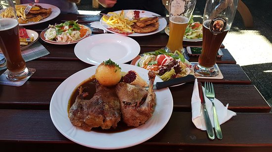 Gasthof Obermeier Hotel: Roasted duck with potato and salad on the side