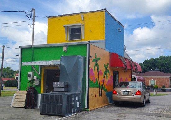 Super colorful Jamaica Sunrise building