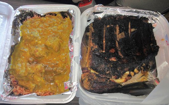 Jamaica Sunrise: Curried goat on the left, jerk pork ribs on the right, delicious!
