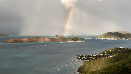 Gorda Peak National Park, Virgin Gorda: View with a rainbow from Hog Heaven
