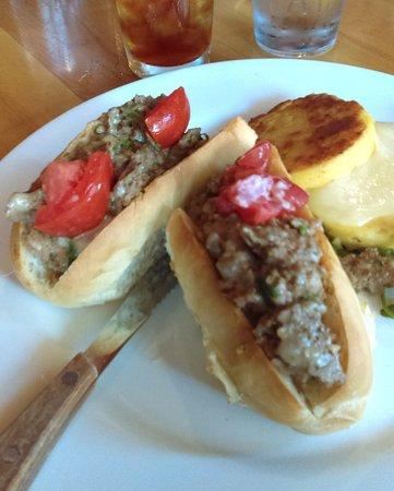 Rutland, VT: Emu and pork sandwich