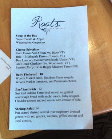 Rutland, VT: Roots menu specials (7-22-16)