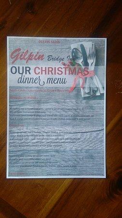 Gilpin Bridge Inn, Levens: 2016 Xmas menu