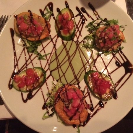 Ristorante Paoletti: This delicious ahi tuna with cucumber, fried potato chips and with wasabi sauce.