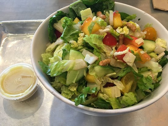 Radnor, PA: peach and cucumbers and tomato with ginger dressing