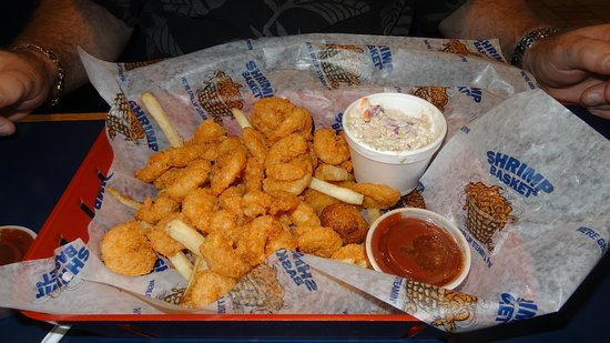 Shrimp Basket: Hub's all-you-can-eat shrimp w fries and cole slaw. Fresh and tasty.