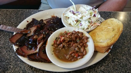 LaVale, MD: Beef brisket dinner with bacon baked beans, & coleslaw