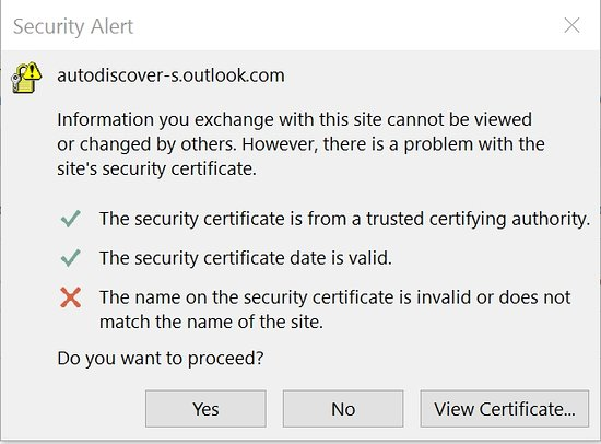 Security certificate for email has a flaw detected by the most ...