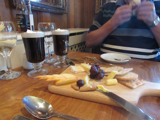 Darley Dale, UK: cheese board and irish coffee