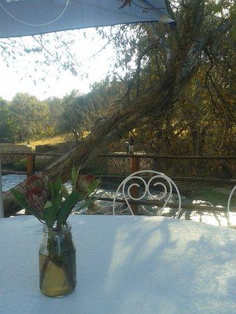 al Fiume Riverside Restaurant : столик на берегу и саксофонист....