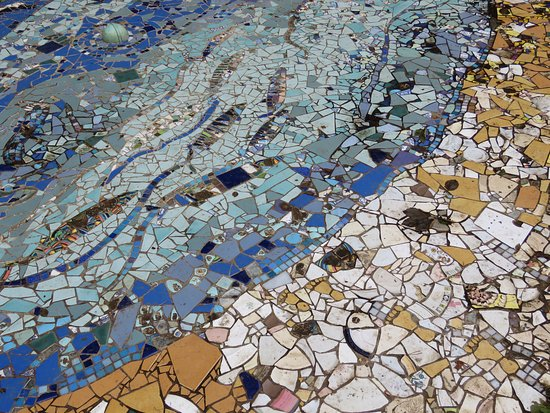 Calgary Art in Nature: Part of a mosaic in the external sculpture grounds