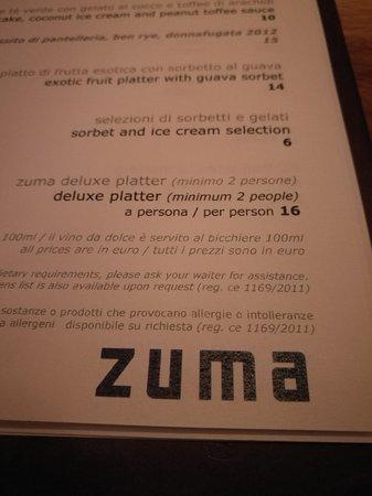 Il Menu Picture Of Zuma Rome Tripadvisor