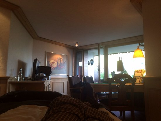 Schonried, Suiza: Photo includes most of our room and the terrace