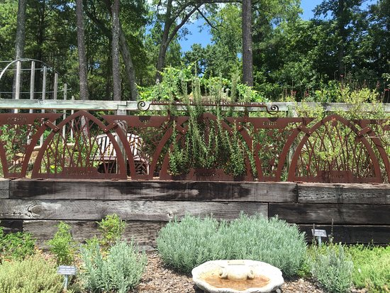 Lower herb garden - names of herbs cut into the ironwork - Picture ...