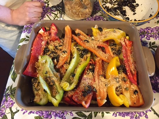Toscana Mia: Roasted peppers with olives and bread crumbs. Yet another delicious dish that is easy to make.