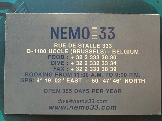 Business card from nemo33 picture of nemo 33 brussels tripadvisor nemo 33 business card from nemo33 reheart Choice Image
