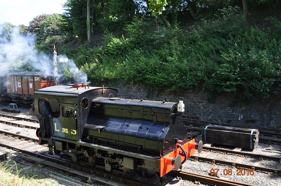 Midsomer Norton, UK : The vertical boiler Sentinel steam locomotive