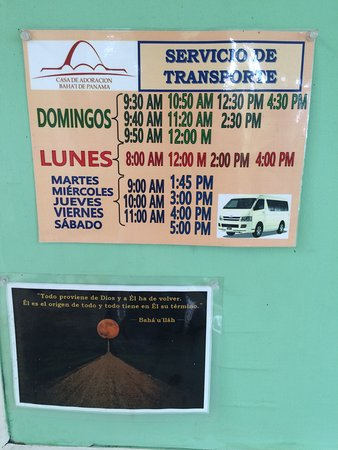 Las Cumbres, Panamá: Shuttle bus schedule from San Isidro Station