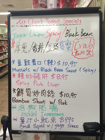 Mr. Chen's Authentic Chinese Cooking & Oriental Market: The specials board from 8/6/16. Regular menu has more standard fare. This is NOT for people expe