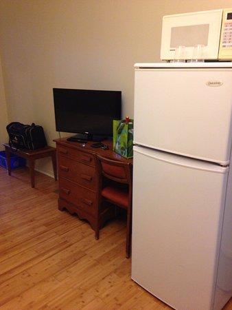 Lachute, Canada: The full size fridge and the flat screen TV,