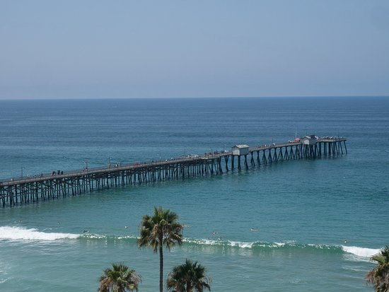 Looking down on San Clemente Pier from the garden walkway