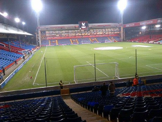 Selhurst Park: View of the Whitehorse Lane Stand at night with the Main Stand (
