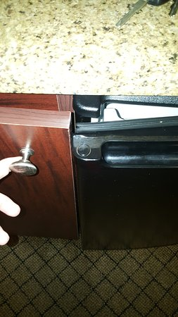 Holiday Inn Express Atlanta-Emory University Area: Unable to close fridge without first opening cabinet door