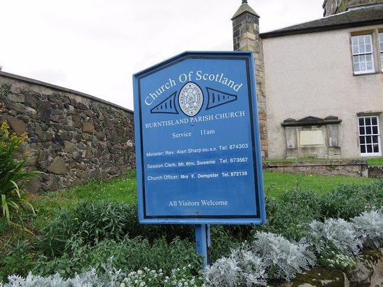 Burntisland Parish Church: notice board