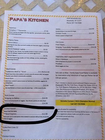 Papa's Kitchen: menu
