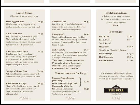 Great Bardfield, UK: Lunch Menu