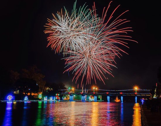 Natchitoches, LA: fireworks are wonderful from our tour boat.