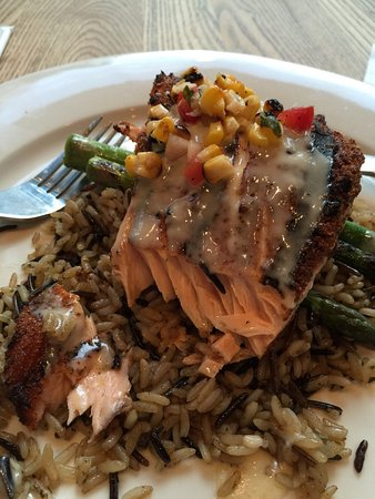 Busboys and Poets: Blackened salmon over wild rice and asparagus. White chocolate bread pudding is insanely delicio