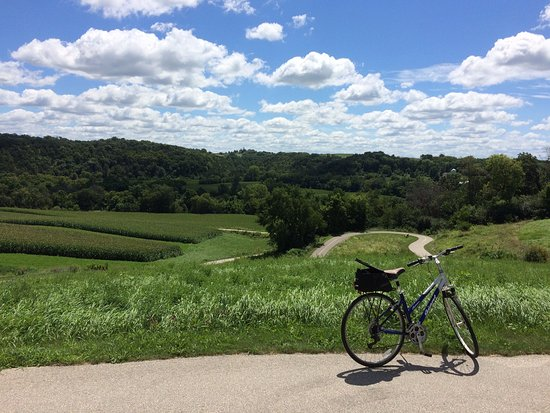 Decorah, IA: Near the top of switchback hill riding trail clockwise.