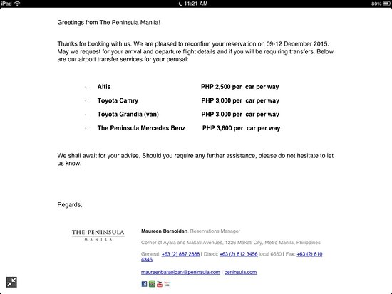 The Peninsula Manila: Here's the hotel transfer cost as sent to me by email prior my arrival