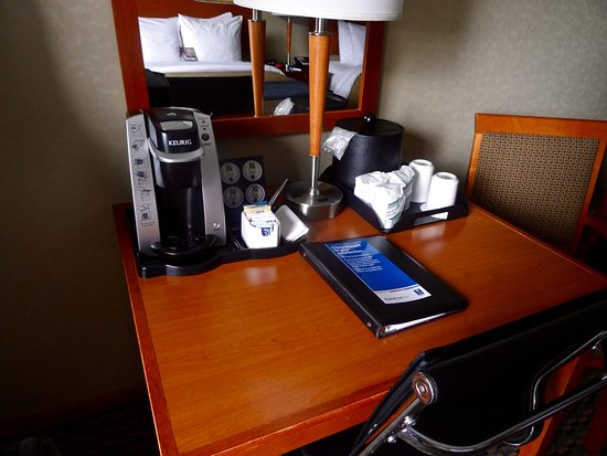 Comfort Inn: The very nice Kuerig coffee set up, on a nice-size writing desk.