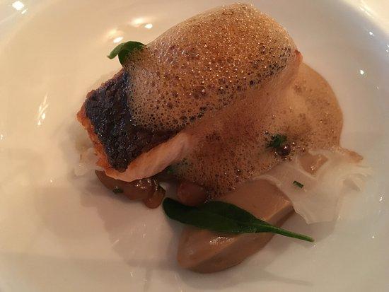 Upper Slaughter, UK: salmon main course