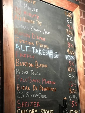 Dogfish Head Alehouse: Beer menu 8/6/2016.  Yum!