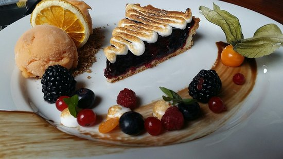 Cabana Vanatorilor: Pie with berries, meringue and ice cream
