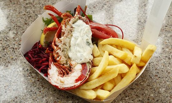Fife, UK: Lobster and chips at the East Pier Smoke House