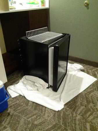 SpringHill Suites Milford: Fridge was iced over, had no temperature adjustement, had to be thawed before use.