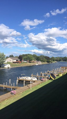 Cheboygan, MI: View of river and docks from our balcony.