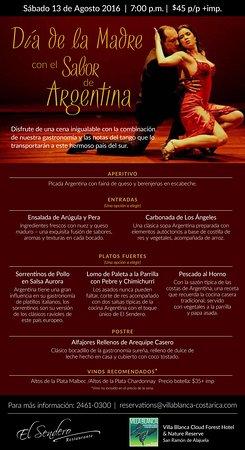 Villa Blanca Cloud Forest Hotel and Nature Reserve: sábado 13 Agosto Noche de Tango