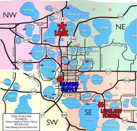 Chain of Lakes Map - Picture of Marine Supply, Winter Haven ...