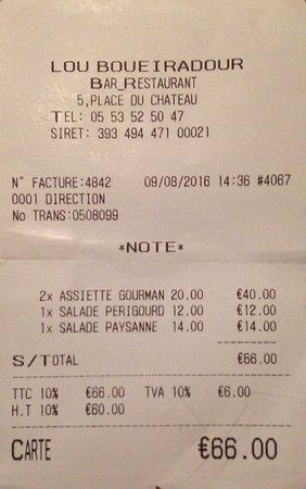 Jumilhac-le-Grand, France: Salée la note pour du surgelé !