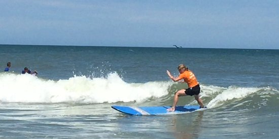 Tony Silvagni Surf School: Trying desperately to follow Blake's instructions!!!  Great time!