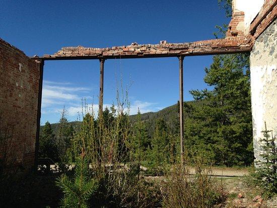 Philipsburg, MT: Steel columns made in Butte still stand...