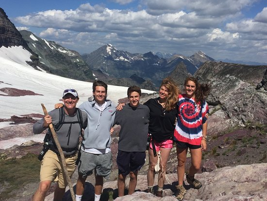 Sperry Chalet: family photo on top of Sperry Glacier!