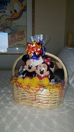 My kids received this gorgeous welcome gift basket from Disney