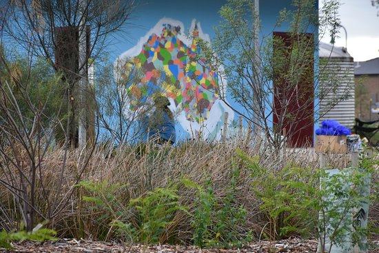 Melton, Australia: Aboriginal mural and Indigenous Language Map on the public amenties building