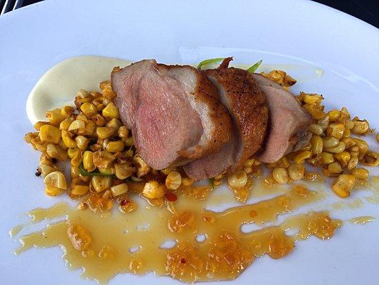 Birmingham, MI: Kitchen split order of succulent duck breast with corn salad.